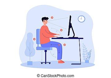 correcto, escritorio, vector, sentado, posición, ilustración, hombre, plano