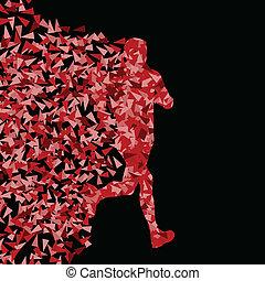 Corredor activo de silueta deportiva de fondo vector de ilustración de fondo concepto hecho de fragmentos triangulares explosión para el poster