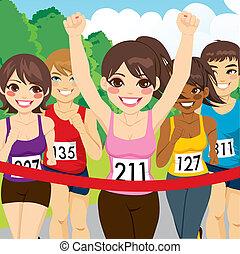 corredor, atleta, hembra, ganando