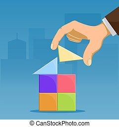 corredor de bienes raíces, concept., construye, casa, propiedad, juguete, cubes., verdadero