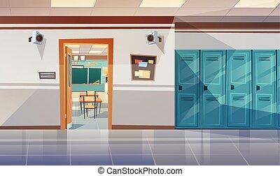 Corredor de la escuela vacío con taquillas abiertas puerta a sala de clases