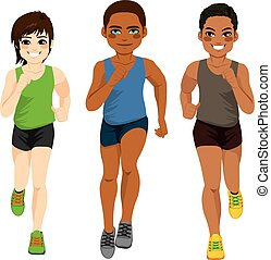 corredor, diferente, hombres, pertenencia étnica