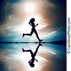 corredor, silhouetted, reflec