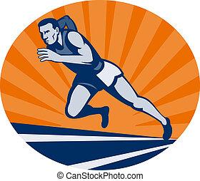 corredor, sunburst, angle., pista, maratón, sumamente, visto, bajo