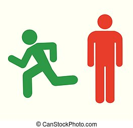 Corredor y un ícono de hombre de pie
