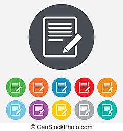 corregir, button., señal, contenido, icon., documento