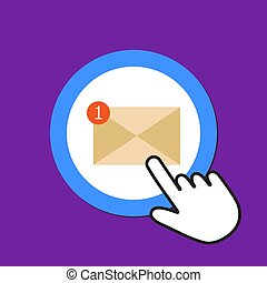 correo, clics, e-mail, cursor, mano, concept., unreading, icon., button., ratón