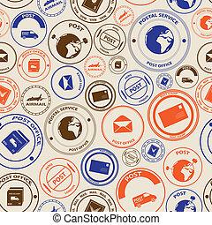 Correo de color y sellos postales sin costura eps10