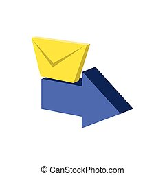 Correo de sobres con icono de flecha