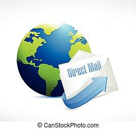 correo, globo, diseño, directo, ilustración