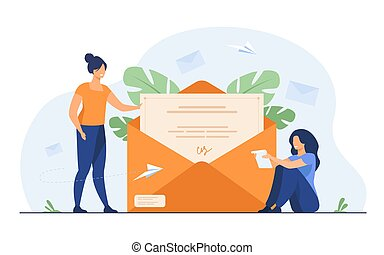 correo, receiving, carta de lectura, mujer
