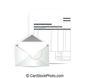 correo, recibo, diseño, factura, ilustración