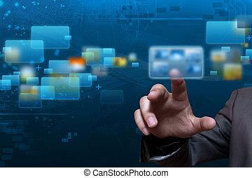 correr, pantalla, tecnología