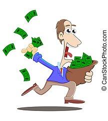 Corriendo con una bolsa de dinero
