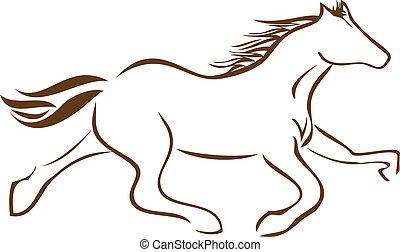 Corriendo logotipo de vector de caballos