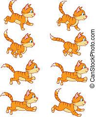 corriente, animación, sprite, gato