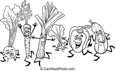 corriente, colorido, vegetales, caricatura