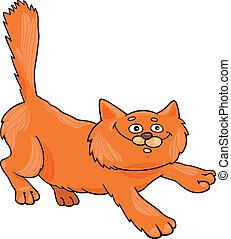 corriente, velloso, rojo, gato