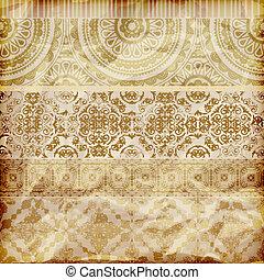 Corrientes florales sin vectores en textura de papel dorado