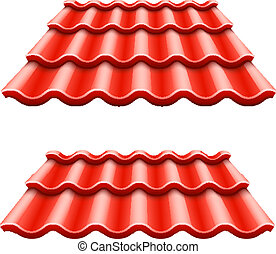 corrugado, azulejo, rojo, techo, elemento