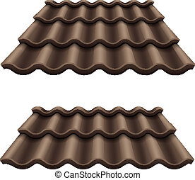 corrugado, techo, chocolate, oscuridad, azulejo, elemento