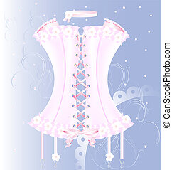 Corset rosado blanco con perla y cinta