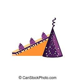 Corta dulce pastel de cumpleaños con fiesta de sombrero