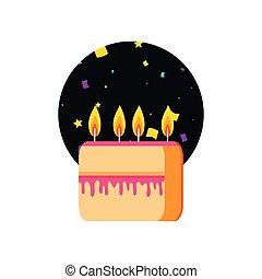 Corta dulce pastel de cumpleaños con velas