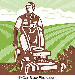 cortacéspedes, retro, equitación, paisajista, jardinero