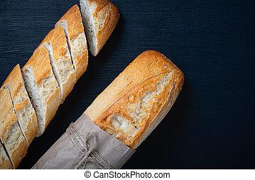 cortar, encima, bread, mesa., vista, espacio, copia, piedra, sobre, oscuridad