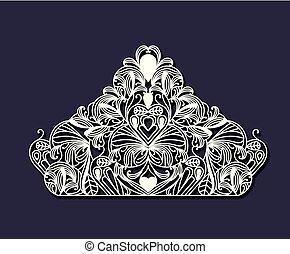 Cortar láser en forma de corona real floral de color azul acero