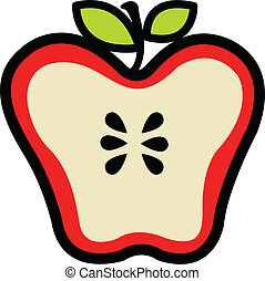 cortar, rojo, mitad, manzana, jugoso