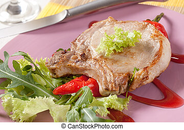 corte, cerdo, acompañamiento, asado