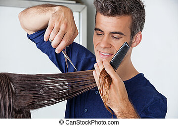 corte del pelo, client's, peluquero