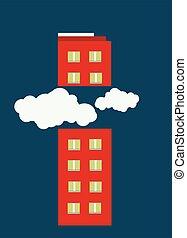 corte, edificio, nubes, ilustración, mitad