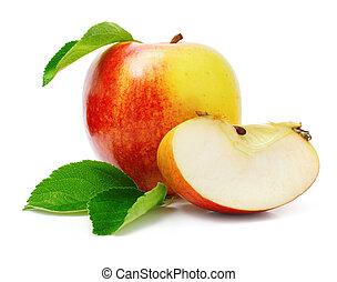 corte, manzana, hojas, verde, fruits, rojo