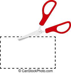 corte, punteado, cupón, tijeras, línea, rojo, afuera
