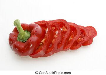 corte, rebanadas, uno, fresco, paprika, rojo