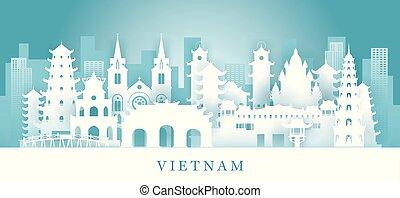 corte, señales, vietnam, estilo, papel, contorno