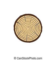 corte, tronco, icono, vector, árbol, coloreado, sierra, anillos