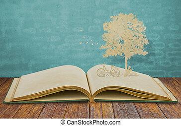 corte, viejo, leer, árbol, niños, papel, debajo, libro