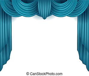 cortina, atrás, fondo blanco