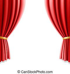 cortina, blanco, teatro, rojo
