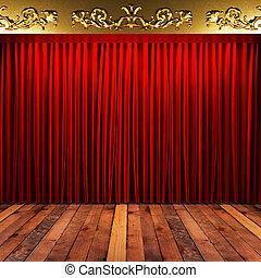 Cortina de tela roja con oro en el escenario