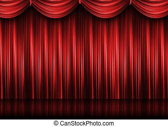 Cortina del teatro rojo