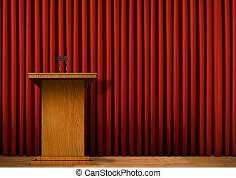 cortina, encima, podio, rojo, etapa