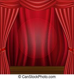 cortina, madera, escena