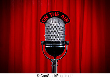 cortina, micrófono, proyector, rojo, etapa
