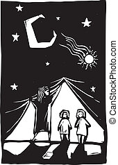 cortina, niños