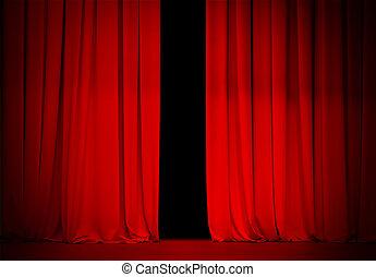 Cortina roja en el teatro o cine ligeramente abierto